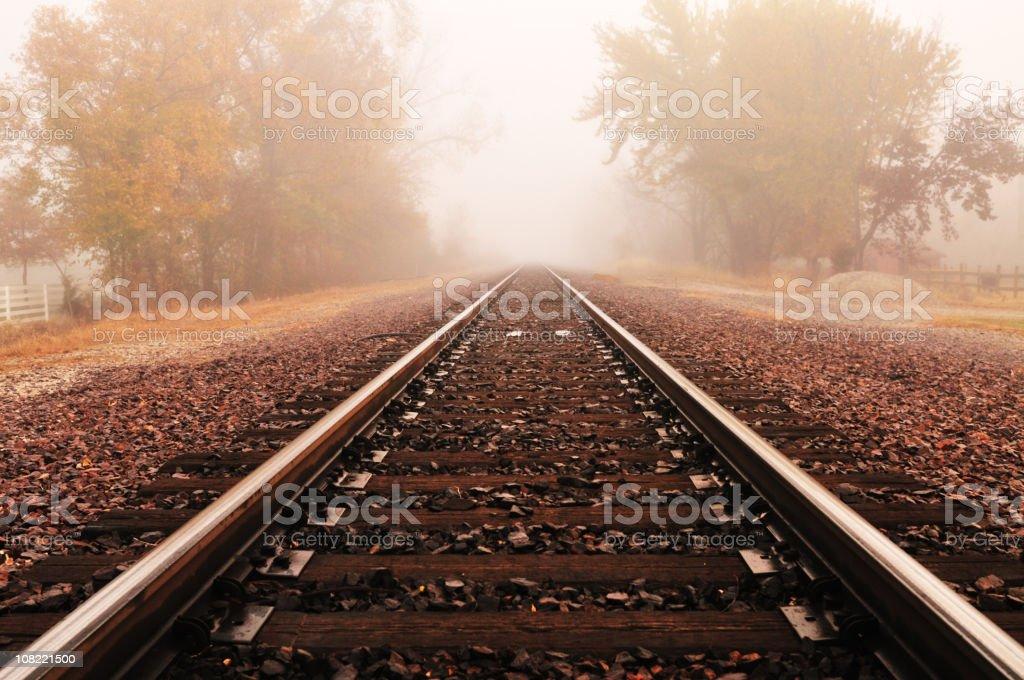 Railroad Autumn Fog (series) royalty-free stock photo