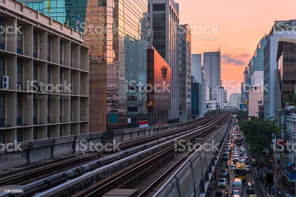 railroad bangkok stock photo