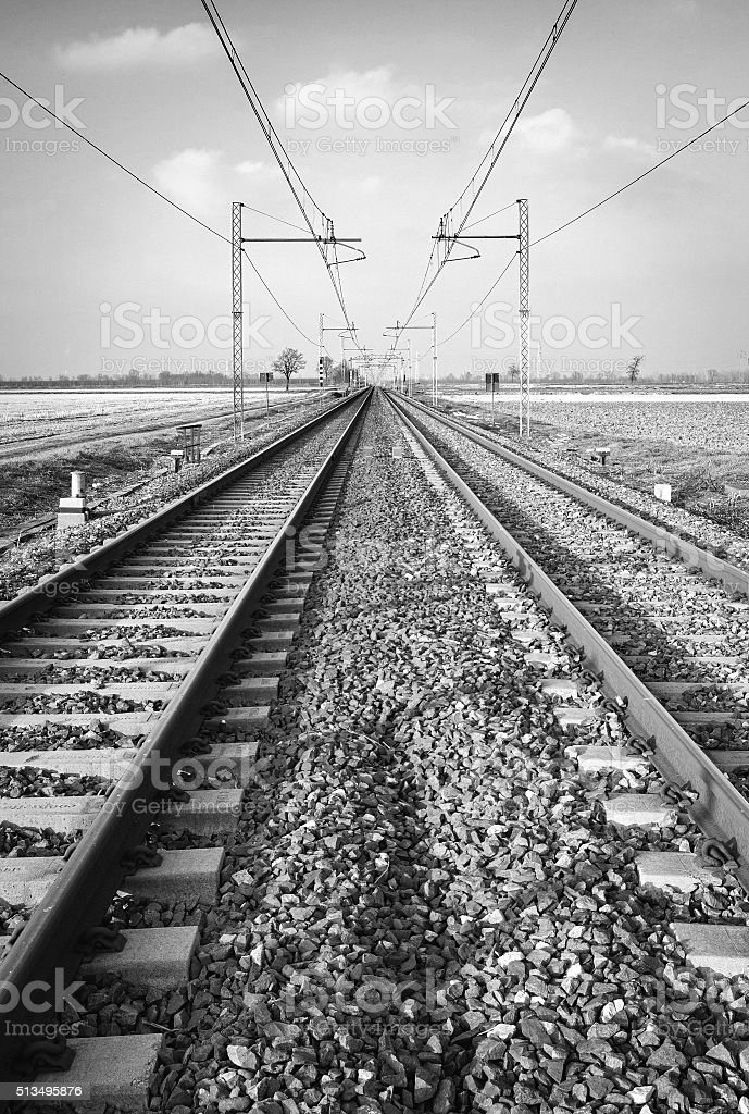 Railroad. Black and white photo stock photo