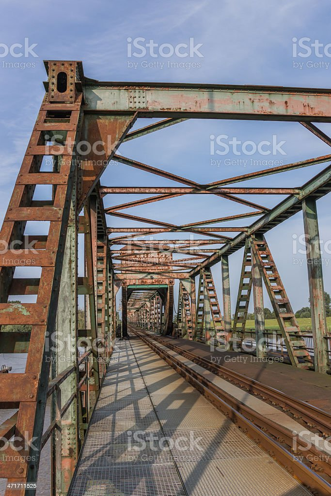 Railroad bridge Friesenbrucke close to Weener in Germany stock photo