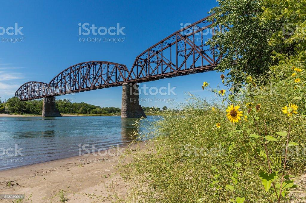 Railroad Bridge Over Missouri River stock photo