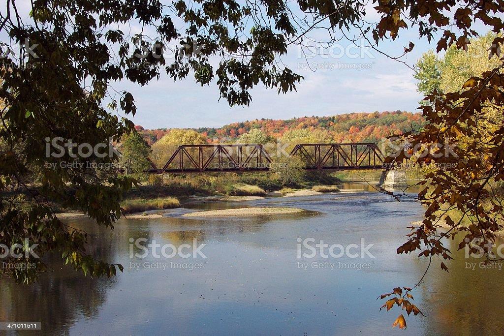 Railroad Bridge over Vermont River stock photo