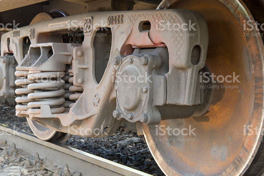 Railroad cars wheels stock photo
