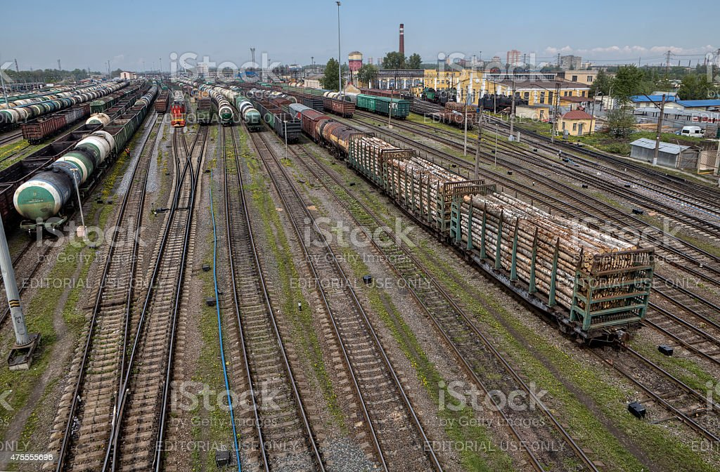 Railroad classification yard many freight cars are lined up, Russia. stock photo