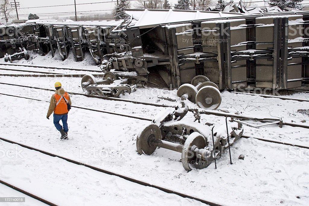 Railroad coal train crash in snow storm stock photo