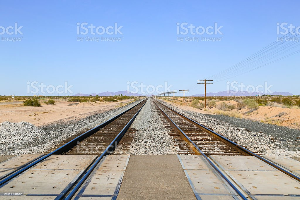 Railroad Crossing in the Sonoran Desert stock photo