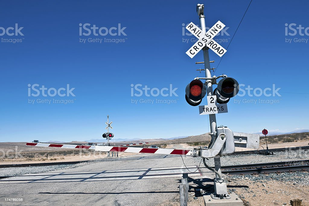 Railroad Crossing on Cutt of Rd Death Valley California USA stock photo