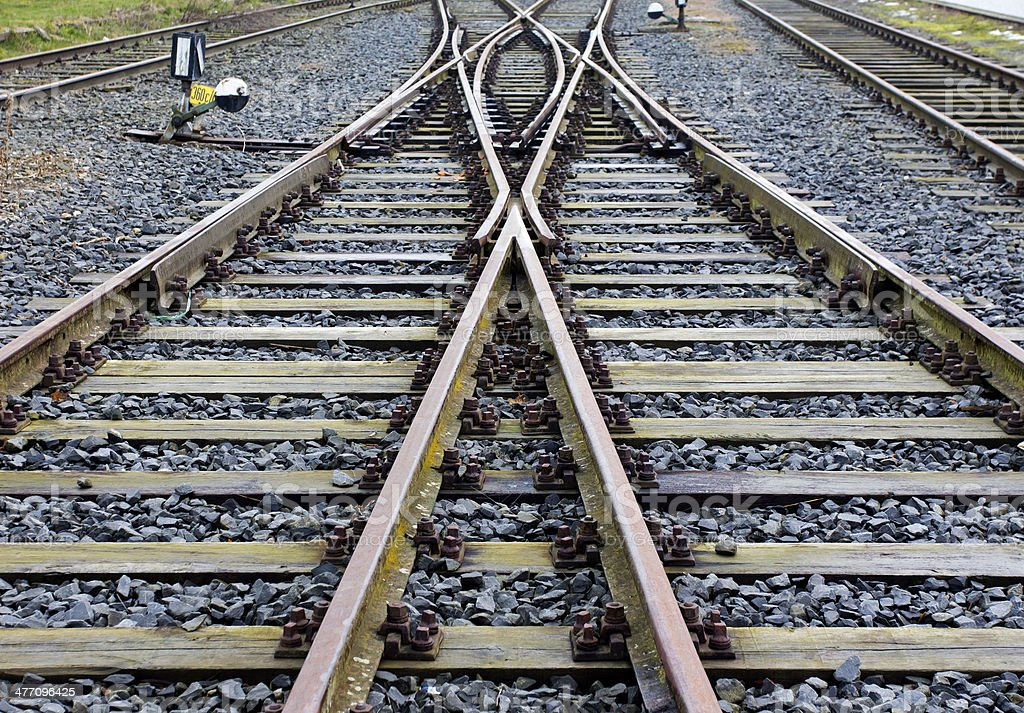 Railroad crossing on the gravel stock photo