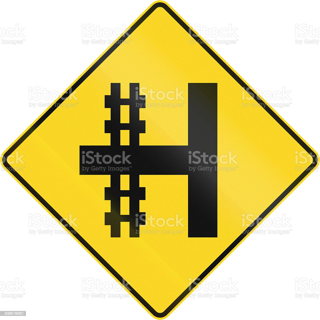 Railroad Crossing On The Left In Canada stock photo