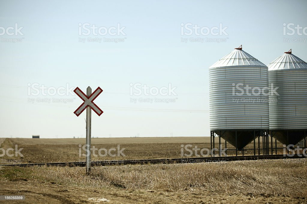 Railroad Crossing on the Prairies royalty-free stock photo