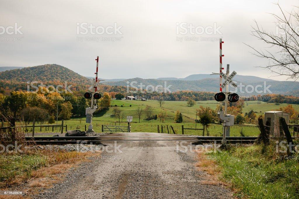 railroad crossing scene stock photo