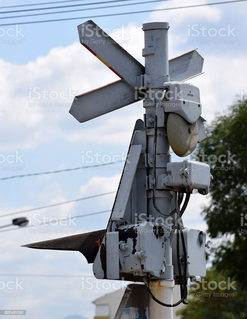 Railroad Crossing sign with railway signal stock photo