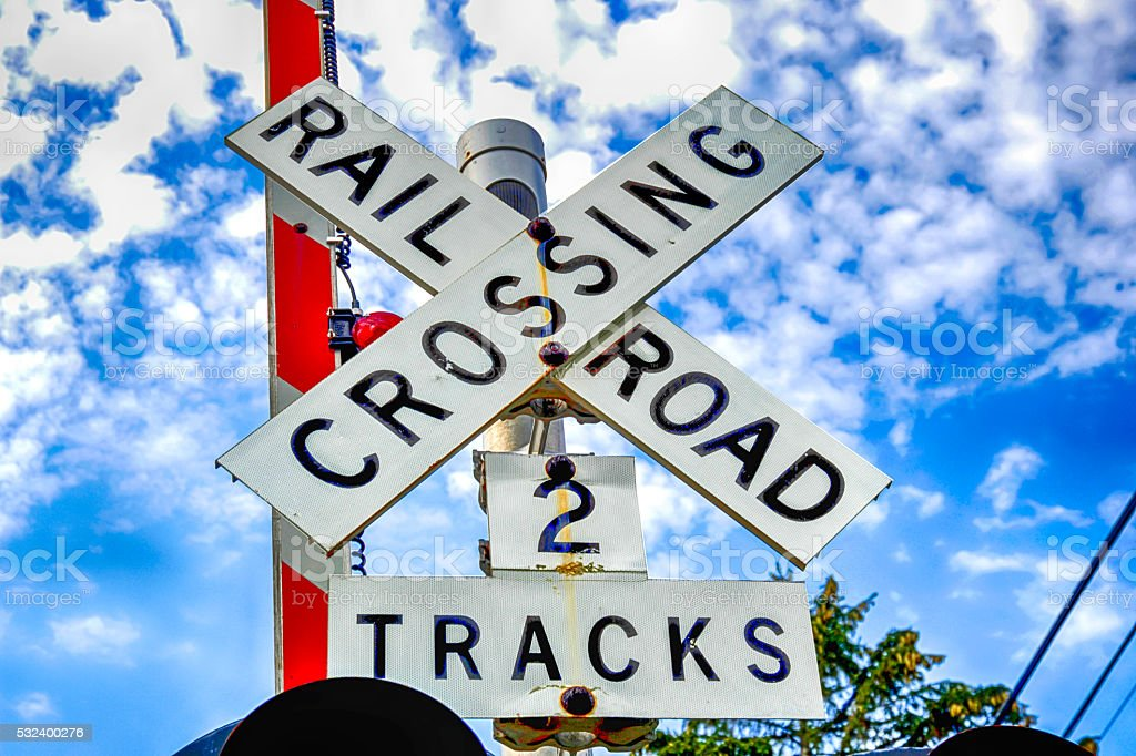 Railroad Crossing warning sign stock photo