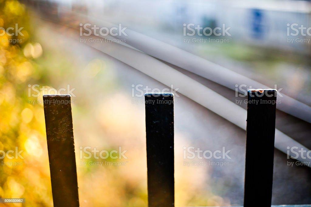 railroad fence stock photo