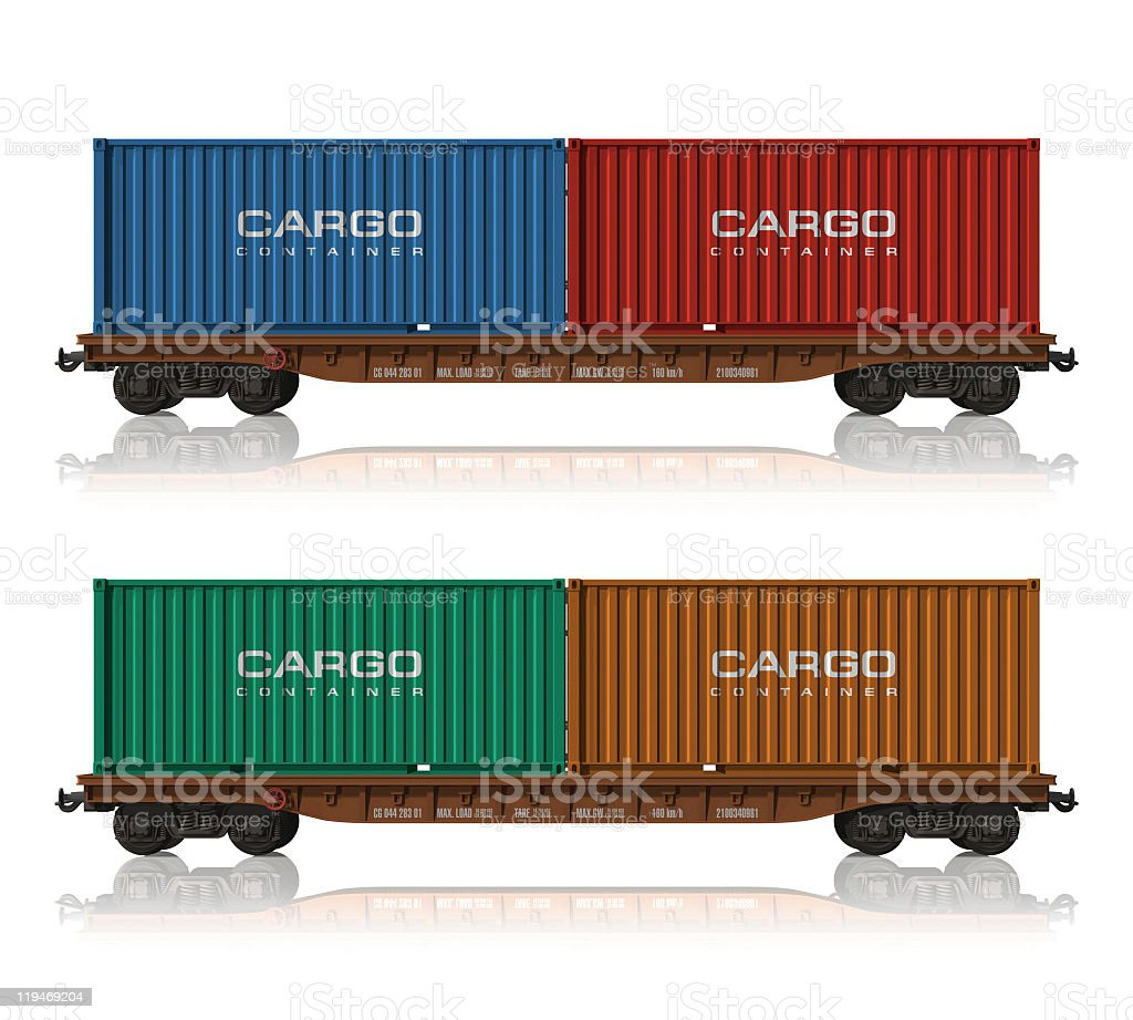 Railroad flatcars with colorful cargo containers stock photo