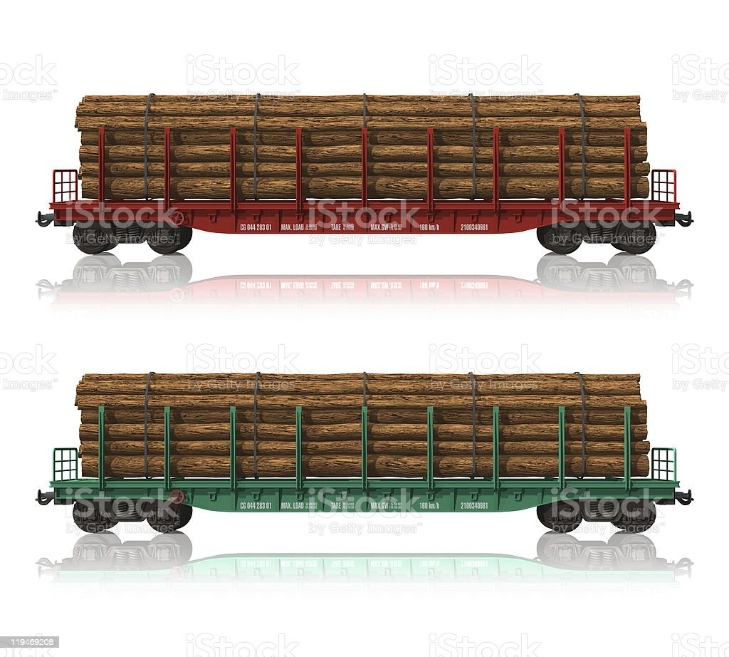 Railroad flatcars with lumber royalty-free stock photo