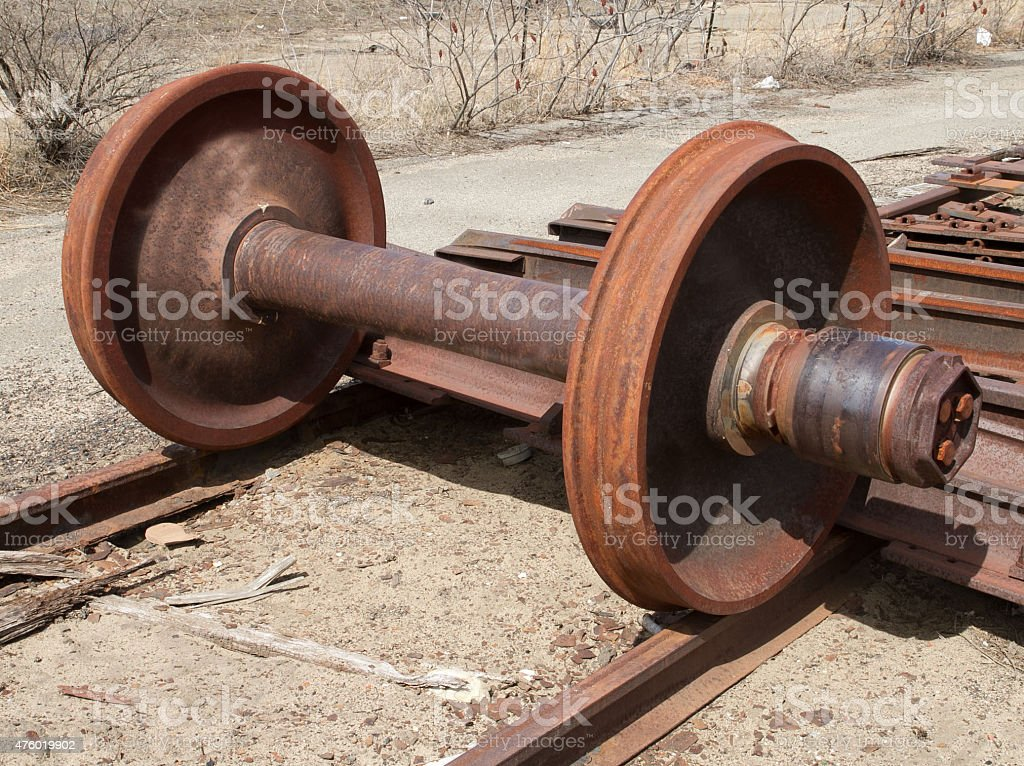 Railroad freight car wheel set and bearing stock photo