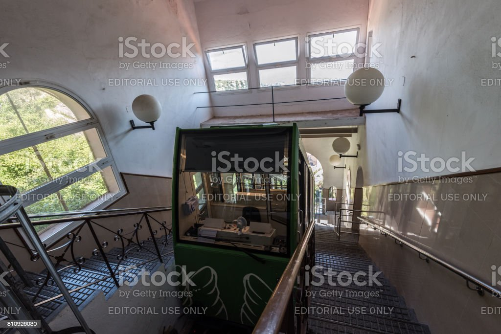 Railroad funicular at Cremallera de Montserrat station in Montserrat monastery. stock photo