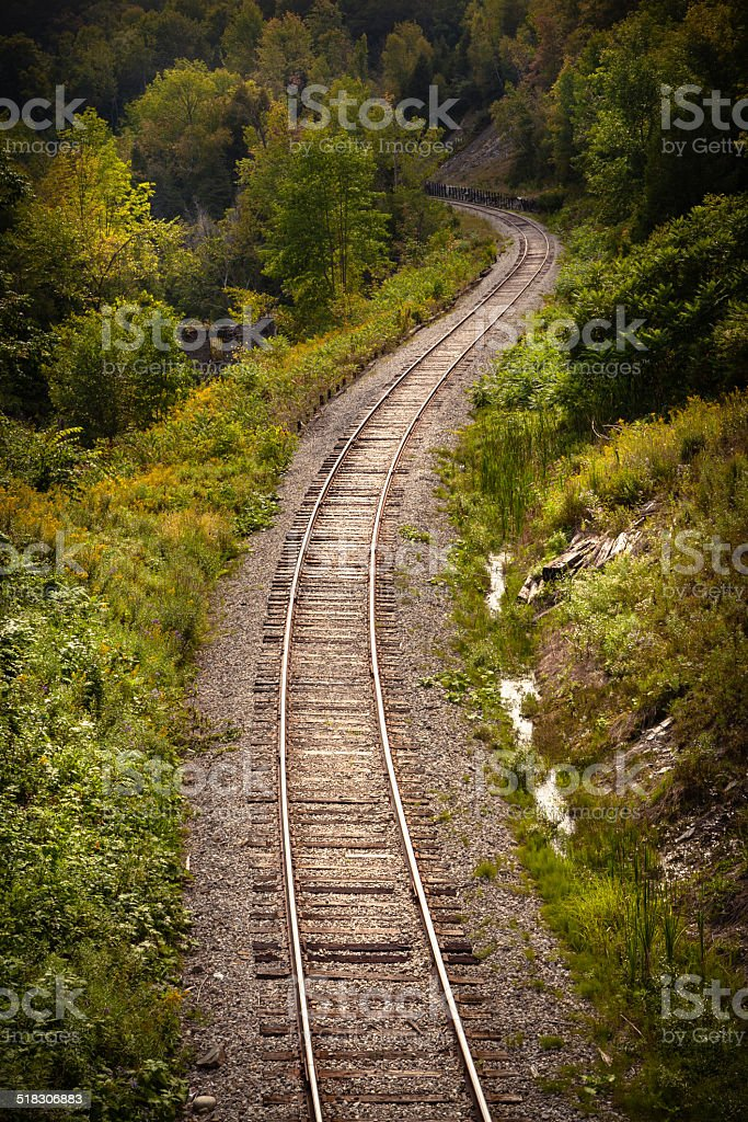 Railroad Gently Curving Around Forks of the Credit Provincial Park stock photo