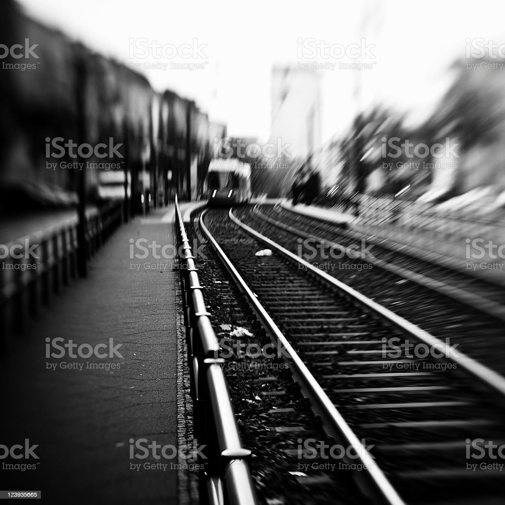Railroad in black and white royalty-free stock photo
