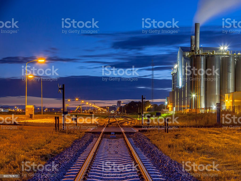 Railroad in Colorful Industrial Chemical area stock photo