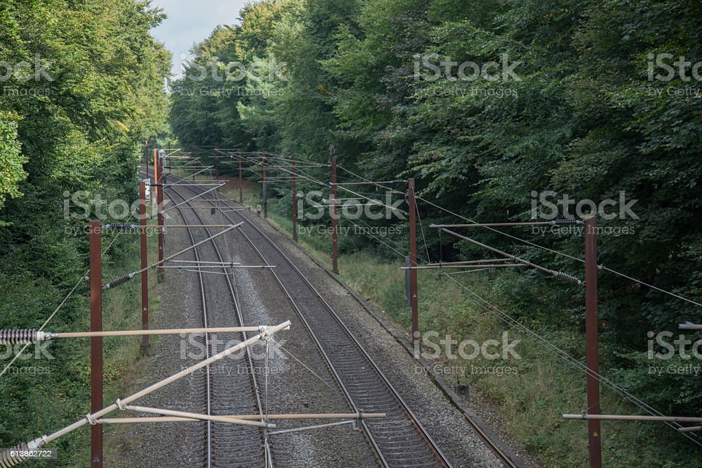 Railroad in Danish forest stock photo