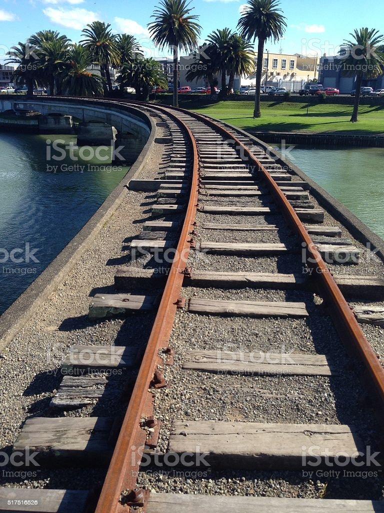 Railroad in Gisborne stock photo