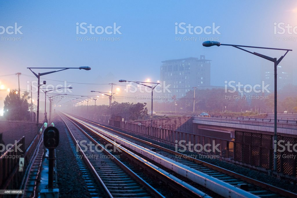 Railroad in the evening stock photo