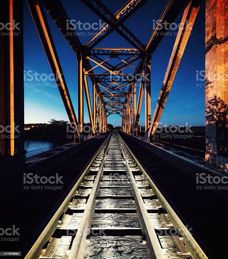 Railroad in Twilight stock photo