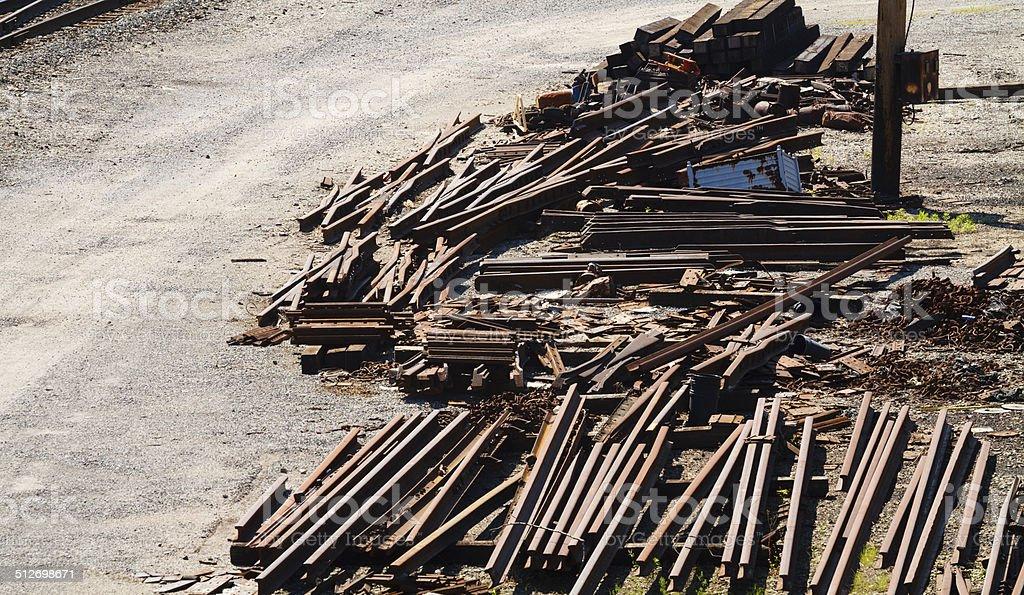 Railroad Industry Scrap Metal Piles stock photo