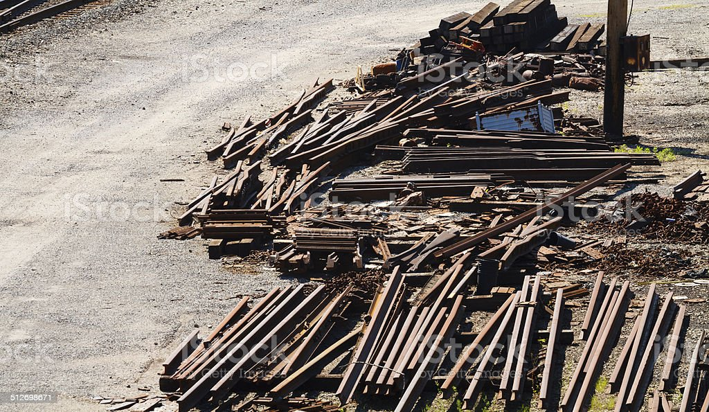 Railroad Industry Scrap Metal Piles stock photo