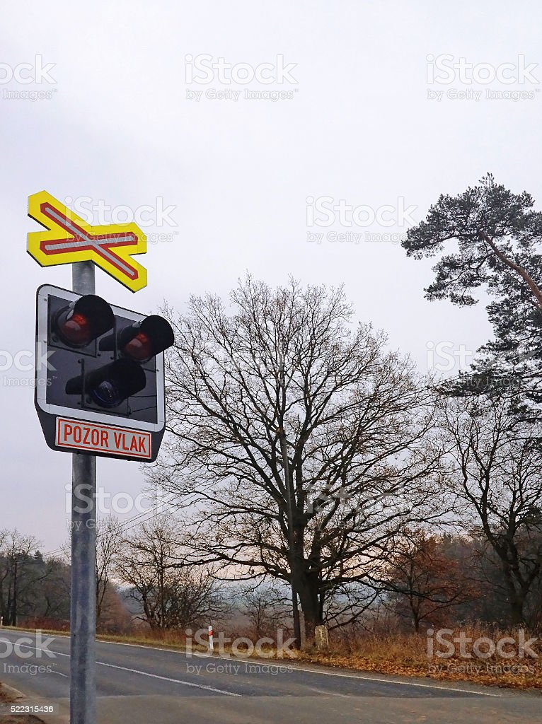 Railroad Level Crossing Sign stock photo
