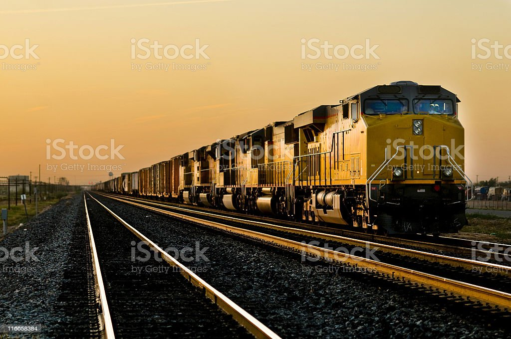 Railroad locomotive travelling across Arizona stock photo