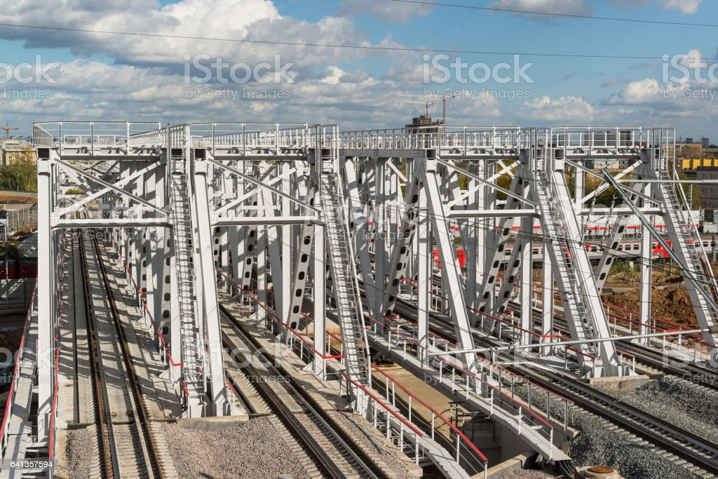Railroad of Moscow central ring stock photo