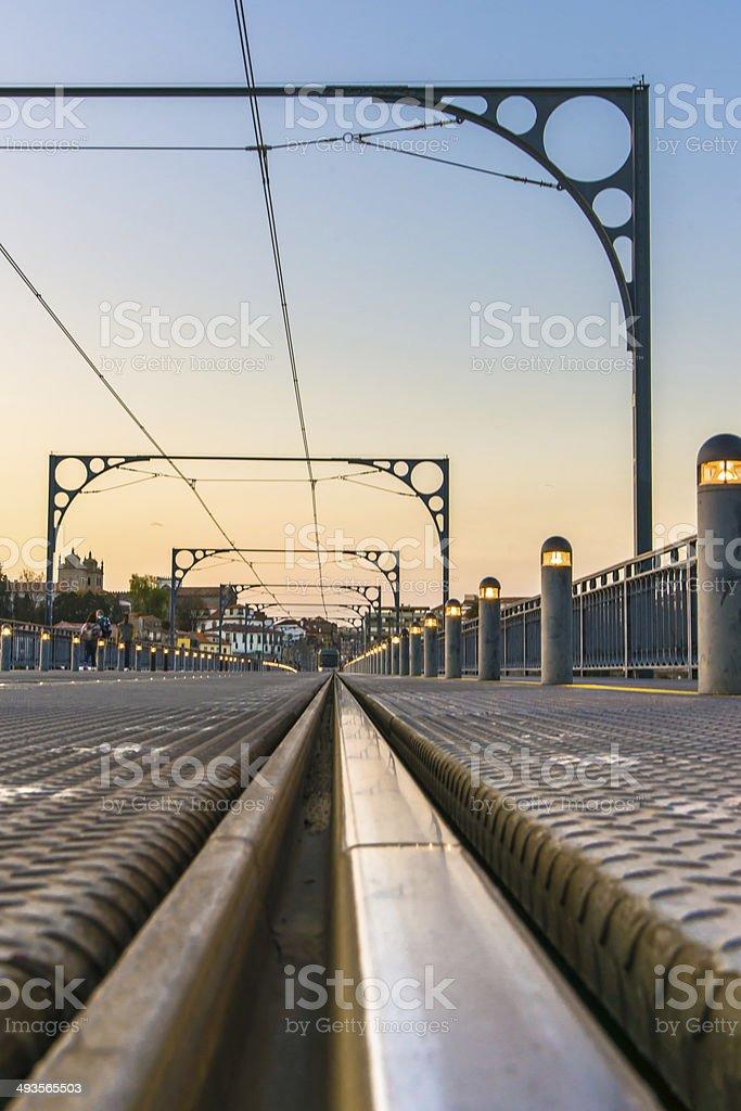 Railroad on Dom Luis Bridge stock photo