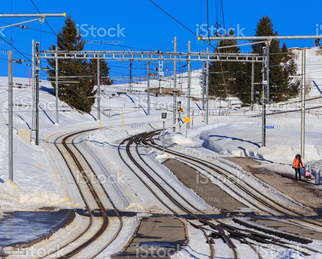Railroad on Mt. Rigi in Switzerland in winter stock photo