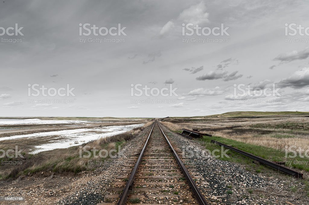 railroad perspective view in Canadian Prairies stock photo
