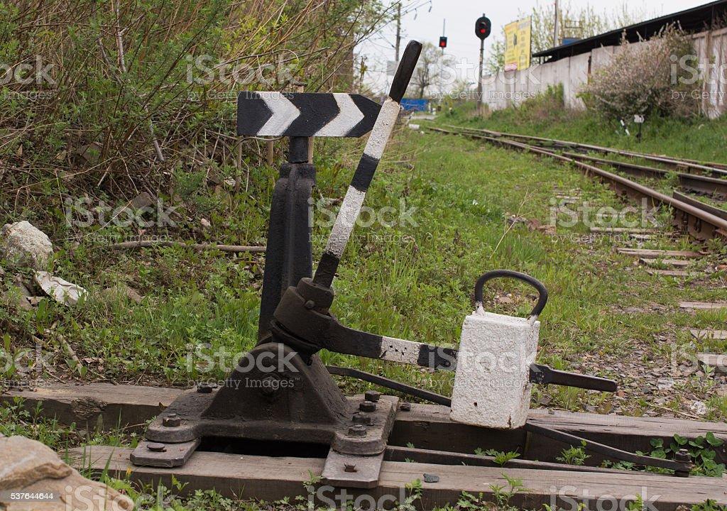 Railroad points near old railway track stock photo