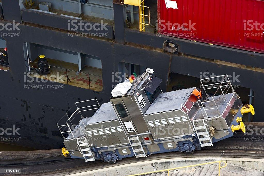 Railroad pulling machine. Panama Canal stock photo