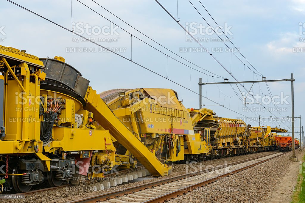 Railroad renewal train stock photo