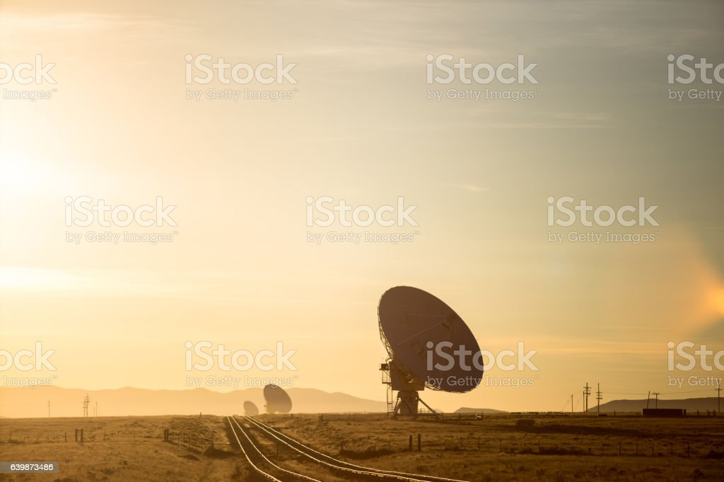 Railroad Running Through Very Large Array stock photo
