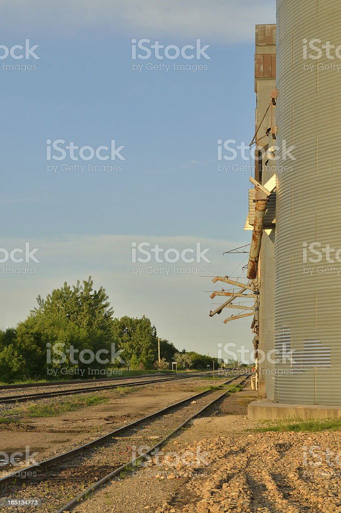 Railroad Siding And Grain Elevators royalty-free stock photo