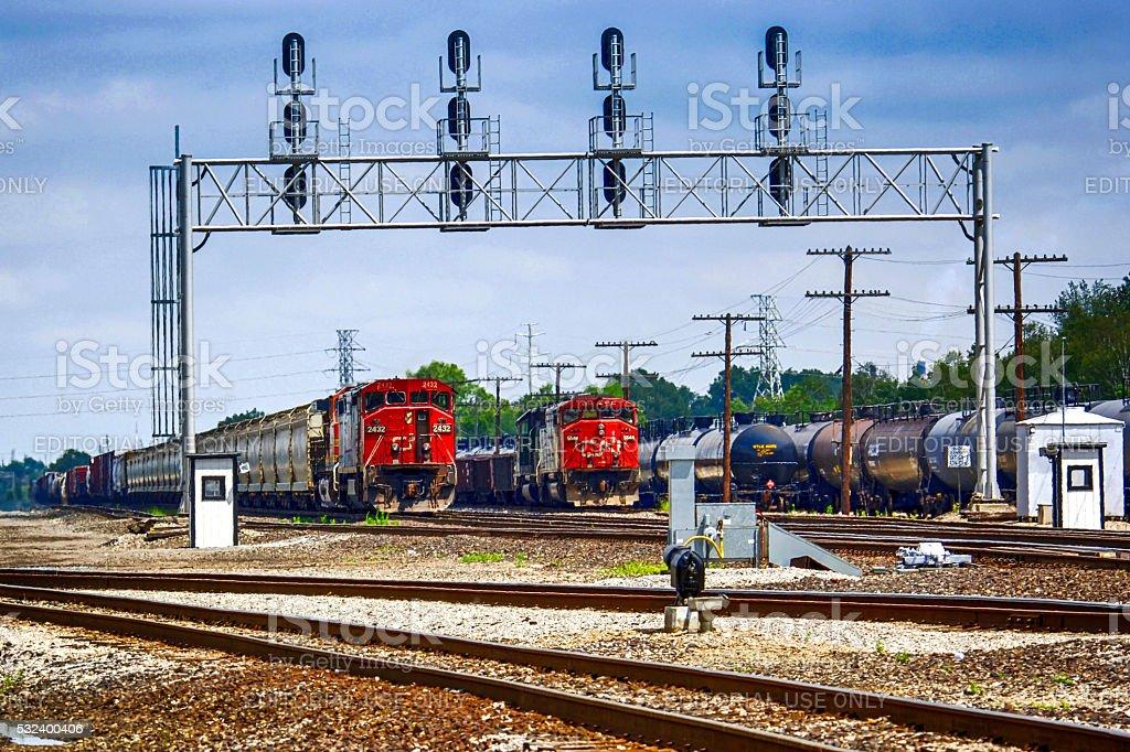 US railroad siding just outside Detroit, MI stock photo