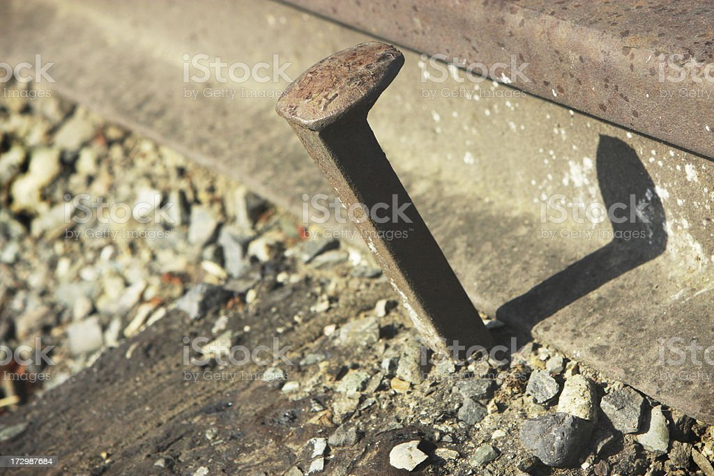 Railroad Spike Train Track stock photo