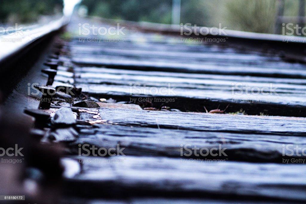 Railroad spikes focused on railroad tracks stock photo