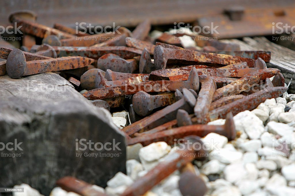 Railroad Spikes royalty-free stock photo