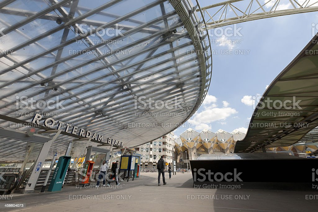 railroad station and cube houses in Rotterdam Netherlands royalty-free stock photo