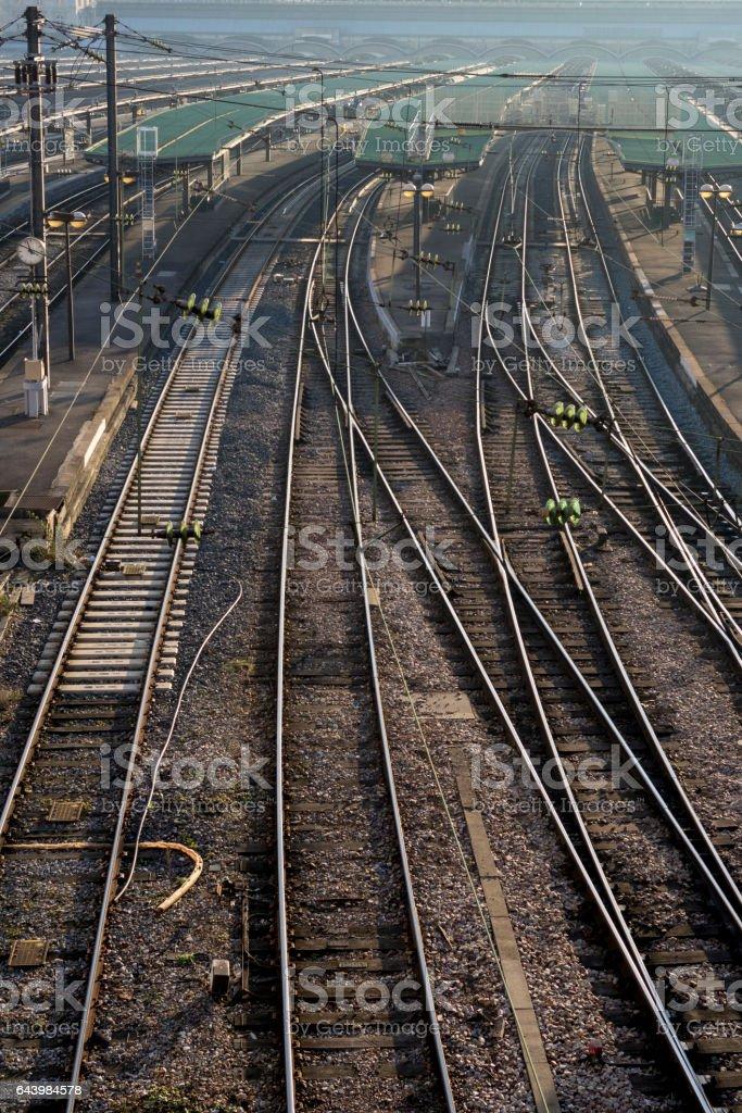 Railroad station platforms stock photo
