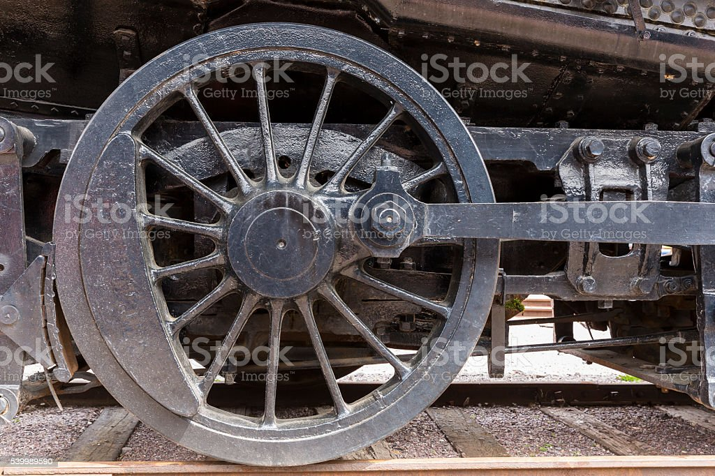 Railroad Steam Locomotive Wheel stock photo