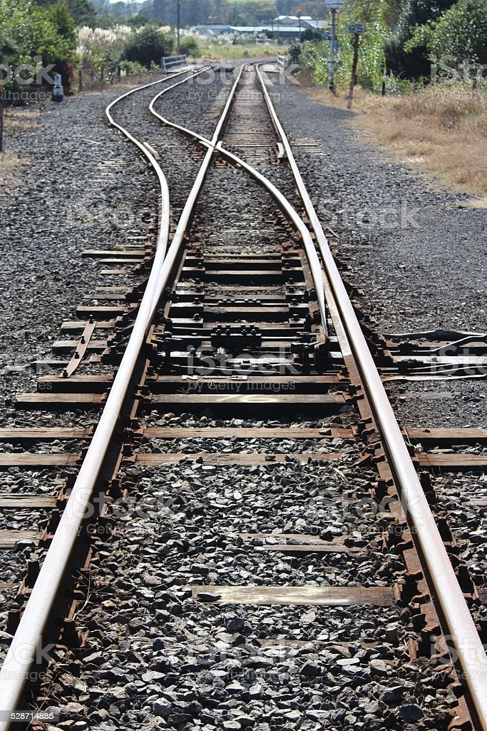 Railroad switch in Rural New Zealand stock photo